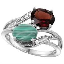 10K White Gold Diamond Natural Garnet & Malachite 2-stone