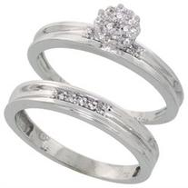 10k White Gold Diamond Engagement Ring Set 2-Piece 0.09 cttw