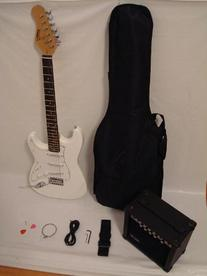 Ktone White Electric Guitar Set with Strap, Cord, Gig Bag