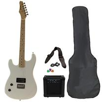 White Full Size Electric Guitar with Amp Case Strap Cord