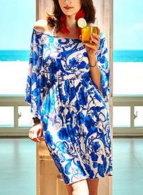 MG Collection Blue & White Floral Stretch Beach Dress /