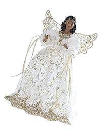 "Roman 14"" White and Gold Angel Christmas Tree Topper Dark"