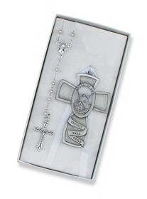 White Guardian Angel Crib Medal & Rosary Set Baby Infant
