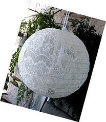 "Quasimoon 16"" White Lace Fabric Lantern, Even Ribbing,"