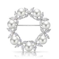 Bling Jewelry White Simulated Pearl Marquise CZ Wreath Pin