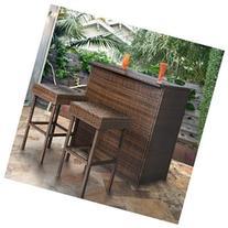 3PC Wicker Bar Set Patio Outdoor Backyard Table & 2 Stools