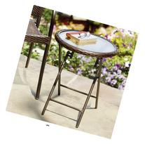 Stratford Wicker Folding Accent Table in Bronze with