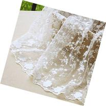 """51"""" Wide Floral Embroidered Mesh Lace Fabric by the Yard -"""