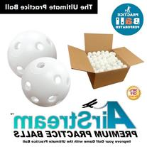 White Perforated Practice Golf Balls Available in 12, 24, 60