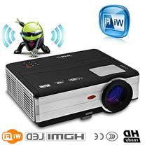 CAIWEI Updated WiFi Wireless LED Video Projector 3000 Lumens
