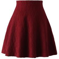Chicwish Wine Embossed Knitted Skater Skirt