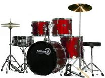 Wine Red 20 Lug Full Size Drum Set with Cymbals Stands