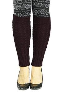 Women Ladies Winter Leg Warmers Cable Knit Knitted Crochet