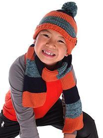 Girls Winter Knitted Woolen Striped Pattern Hat & Scarf Set