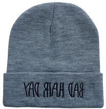 YOXO Winter Warm Knit Grey Bad Hair Day Beanie Hat for Men