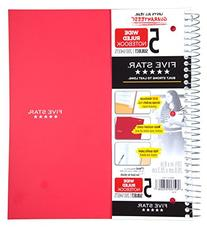 Five Star Wirebound Notebook, 5 Subject, Wide Ruled, 200