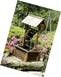 Wishing Well Wood Outdoor Patio Water Fountain with Pump SKU