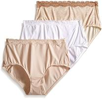 Olga Women's 3 Pack Without a Stitch Lace Brief  Panty,