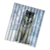 wolf Custom Polyester Waterproof Bath Shower Curtain Rings