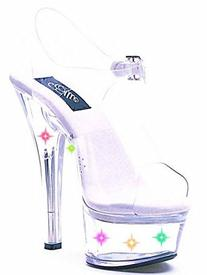 Women's 6 Inch Heel Clear Sandal With Multicolor Lights