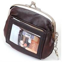 Womens Leather Coin Purse Mini Wallet Metal Frame ID Window