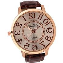 Meily Womens Numerals Gold Dial Leather Analog Quartz Watch