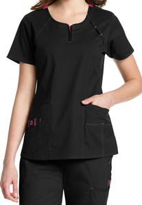 WonderFlex Heaven Fashion Zip Scrub Tops - Black - 2X