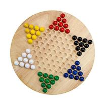 All Natural Wood Chinese Checkers with Wooden Marbles by