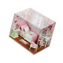 Cuteroom Wood Dollhouse Miniature DIY Kit with Cover Toy