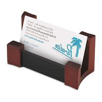 Wood/Leather Business Card Holder, Capacity 50 2 1/4 x 4