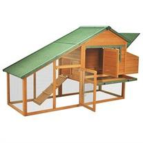 Pawhut Wooden Backyard Slant Roof Hen Habitats House Chicken