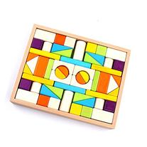 Wooden Blocks - iPlay, iLearn Colored wood block set Natural