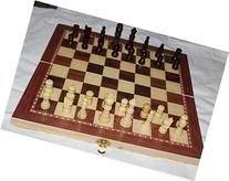 "15"" standard wooden chess set 2.5"" king , checkers and"