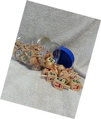 Natural Colored Wooden Dreidels - Bulk Pack of 50 - 2 Inches