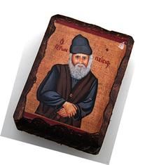 Wooden Greek Orthodox Wood Icon of Saint Elder Paisios Small