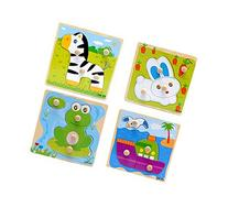 Blackcell 4-Pack Wooden Kids Children Jigsaw Education And