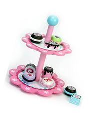 Childrens Wooden Play & Pretend Food Set, Dessert Stand with