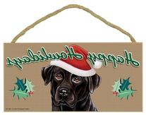 """""Happy Howlidays"" Wooden Sign - Black Lab"