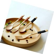 Nature Wooden Spoon and Fork Cutlery Set with Line