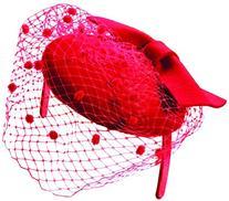 Scala Womens Wool Felt with Bow Fascinator Headband, Red