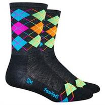 DeFeet Wooleator Argyle Muti Hi-Vis Hi-Top Cycling/Running
