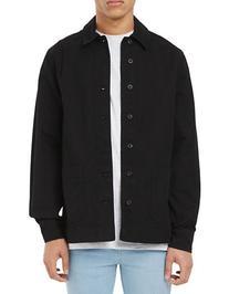 Topman Worker Denim Overshirt-BLACK-X-Small