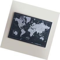 World Travel Map Pin Board - Modern Slate