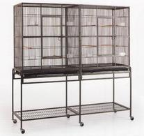 New Large Wrought Iron Double Cage w/ Slide Out Divider 3