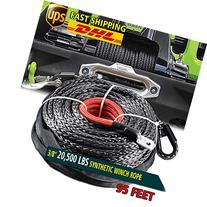 "Black 95ft x 3/8"" 20000LBS Synthetic Fiber Winch Rope Cable"