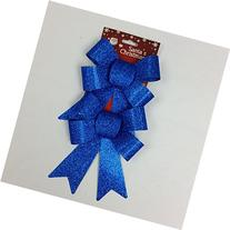 """HOT !! X'mas Glitter Gift Bows - 5"""" Wide, Set of 2, Blue"""