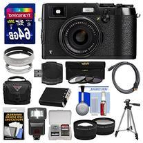 Fujifilm X100T Digital Camera  with 64GB Card + Case + Flash