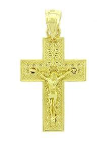 10k Yellow Gold Cross Charm Roman Catholic Crucifix Pendant