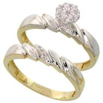 10k Yellow Gold Diamond Engagement Ring Set 2-Piece 0.07