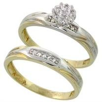 10k Yellow Gold Diamond Engagement Ring Set 2-Piece 0.09